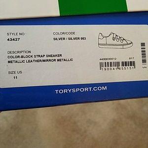 a916ab39fb7b69 Tory Burch Shoes - Tory Burch Sport silver triple-strap sneaker